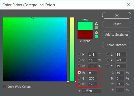 photoshop RGB